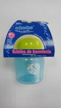 Пляшка пластикова з малюнком та силiконовою соскою, широкий отвір, 125 мл AKUKU А0211. (голуба).