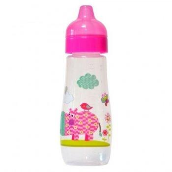 Пляшка пластикова з малюнком та силiконовою соскою 300 мл DYDUS b330 (рожева)