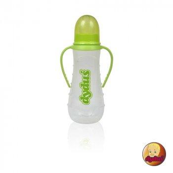 Пляшка пластикова з ручками та силiконовою соскою 250 мл DYDUS b231 (салатова)