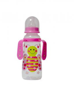 Пляшка пластикова з ручками та силiконовою соскою 250 мл DYDUS b251 (рожева)