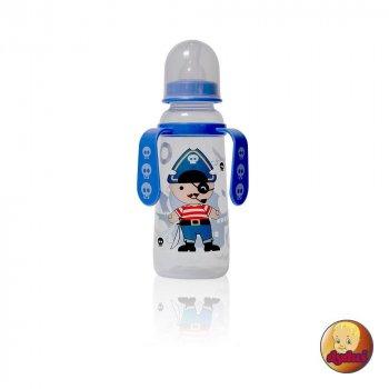 Пляшка пластикова з ручками та силiконовою соскою 250 мл DYDUS b251 (синя)