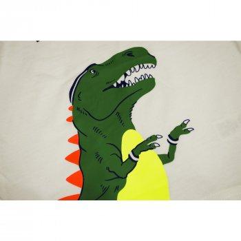 Пижама для мальчика (1 шт) Carter's белая кофта с тёмно-синими рукавами и динозавром штаны тёмно-синие