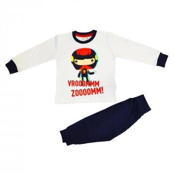 Пижама для мальчика (1 шт) Crafted белая футболка с длинными рукавами и рисунком и тёмно-синие штаны
