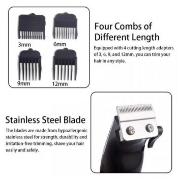 Професійна машинка DSP 90063 для стрижки волосся 4 насадки бордова