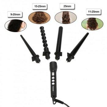 Плойка для волосся 4в1 Kemei KM-4083 4 насадки керамічне покриття чорний