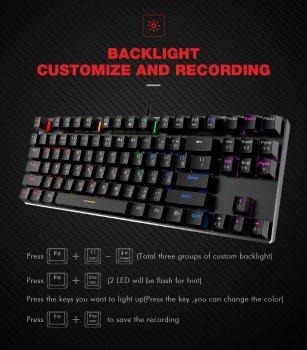 Ігрова клавіатура механічна провідна USB з підсвіткою 87 клавіш HAVIT HV-KB435L-Сині LED світчі