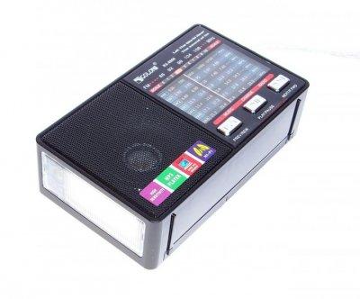 Радиоприемник аккумуляторный Golon RX-8866 с поддержкой mp3 и встроенный фонарик Черный + Электронные часы с будильником и секундомером
