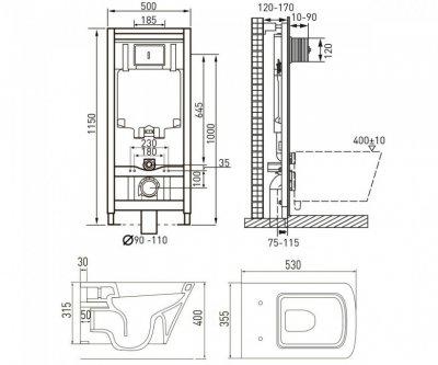 Унитаз с инсталляцией Volle TEO 13-88-422+141515