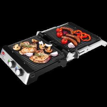 Электрогриль прижимной контактный ECG KG 2033 Duo Grill & Waffle 2000 Вт антипригарное открытие 180 градусов двусторонние панели планча вафельница барбекю терморегулятор на каждую панель