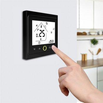 Розумний кімнатний WIFI термостат для газових і електричних котлів Tervix, з датчиком температури повітря, чорного кольору