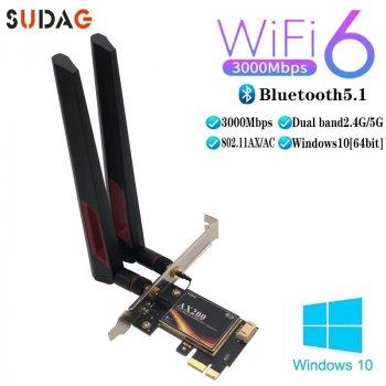 PCI-E Сетевая карта 3000Mbps WiFi 6 + Bluetooth 5.1 Intel AX200 5Ghz SUDAG с антеннами 8dBi