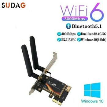 PCI-E Сетевая карта 3000Mbps WiFi 6 + Bluetooth 5.1 Intel AX200 5Ghz SUDAG с антеннами 2dBi