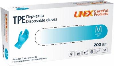 Перчатки одноразовые нестерильные, неопудренные TPE Unex Medical Products размер M 200 шт. — 100 пар Голубые (77-46-1)