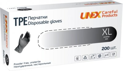 Перчатки одноразовые нестерильные, неопудренные TPE Unex Medical Products размер XL 200 шт. — 100 пар Чорные (77-52-1)