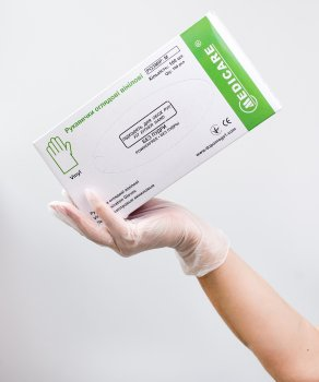 Перчатки смотровые виниловые Medicare Неопудренные M 100шт Прозрачные (6858 (EG-322-M))