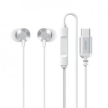 Наушники Remax Metal Wired Earphone Type-C для Xiaomi|Huawei|Samsung white