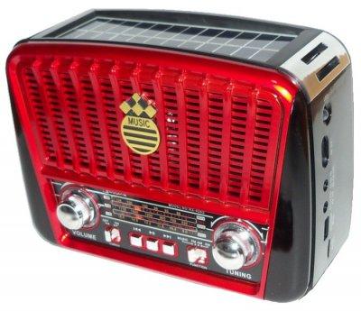 Радиоприемник GOLON RX-455S - портативный радиоприёмник с солнечной панель - колонка MP3 с USB и аккумулятором Черный с красным