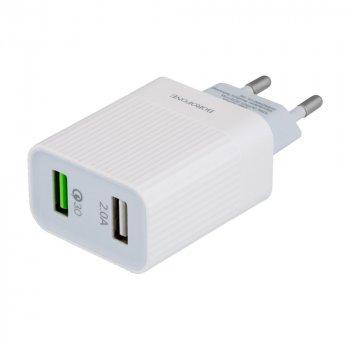 Сетевая зарядка Borofone BA39A Quick Charge 3.0 3A адаптер 2 USB 18W Белый