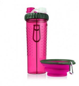 """Пляшка подвійна для води зі складною мискою для собак і кішок """"H-DuO™ with Companion Cup"""" Рожевий Dexas BGL-EZ-639"""