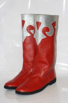 Взуття для Діда Мороза чоботи театральні зі сріблястим візерунком червоні