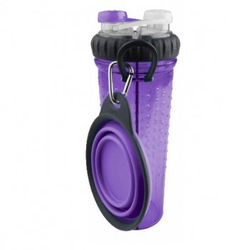 """Пляшка подвійна для води зі складною мискою для собак і кішок """"H-DuO™ with Companion Cup"""" Фіолетова Dexas BGL-EZ-633"""