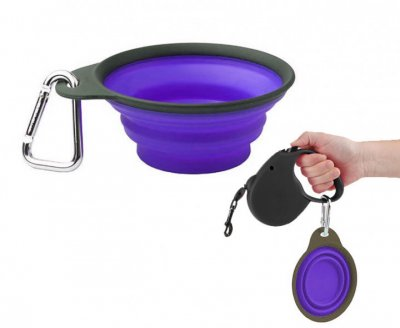 Миска складна дорожня маленька Collapsible Travel Cup-Small фіолетова Dexas BGL-DX-38