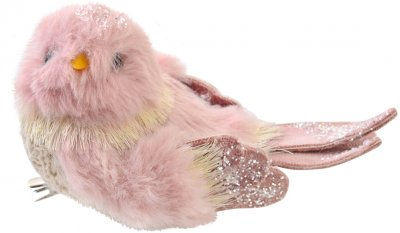 Елочная игрушка Yes! Fun Птичка пушистая 13х7 см Розовая (973550) (5056137185504)