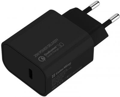 Комплект сетевых зарядных устройств СolorWay Power Delivery Port USB Type-C (20W) V2 Black + White (CW-CHS026PD-BK/CHS026PD-WT)