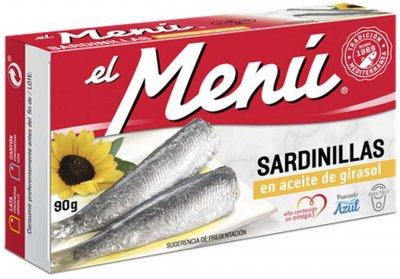 Сардины средиземноморские El Menu в подсолнечном масле 90 г (8410140026013)