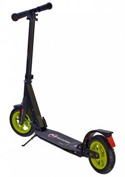 Самокат двухколесный Maraton Power с ножным тормозом, подножка, Ремень для переноски, Руль регулируется по высоте черный зеленый