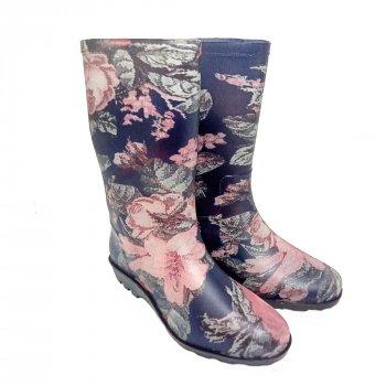 Женские резиновые сапоги РЕАЛПАКС СЖП-Роза на синем розовый с синим
