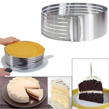 Форма-слайсер Kamille для бисквита регулируемая 24,5 - 30 см с ножом и подносом