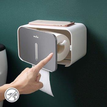 Тримач для туалетного паперу настінний з контролем залишку туалетного паперу MVM ВР-15, колір білий-сірий