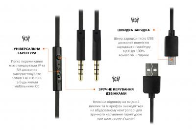 Навушники Kotion EACH B3506 Bluetooth Black/Orange (ktB3506bt)