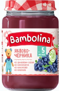 Упаковка пюре Bambolina Яблуко та чорниця 190 г х 12 шт. (4813163001977)