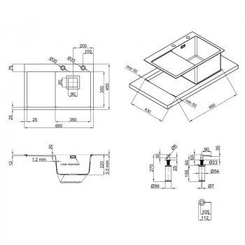 QT DK6845R SET 3.0/1.2 mm кухонная мойка (интегрированная) Satin с дозатором и сушкой
