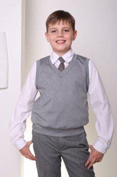 Жилет трикотажный школьный для мальчика МШФ117 DM SASHKA серый