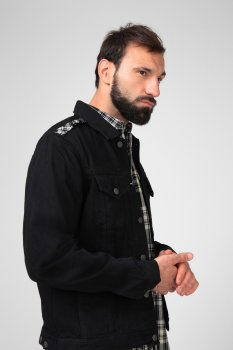 Чоловіча чорна джинсова куртка NHILL-C Diesel A01095 0IAXK