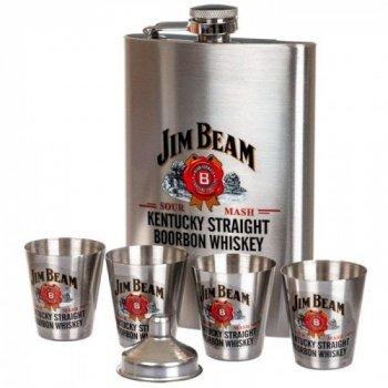 Подарочный набор с флягой и рюмками Jim Beam