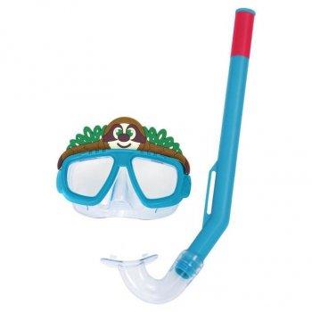 Набор для плавания детская маска с трубкой в виде животного Bestway 24059 (маска: размер S, (3+), обхват головы ≈ 48-52 см, трубка), синий