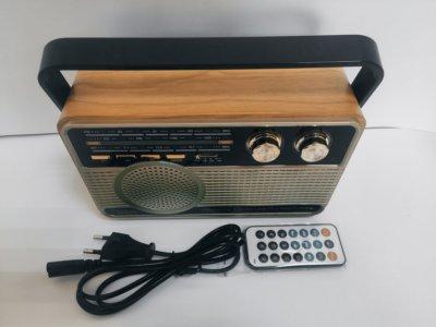 Радіоприймач акумуляторний Kemai MD-506BT Bluetooth, USB, MP3, microSD, пульт ДУ Світло-коричневий(100022)