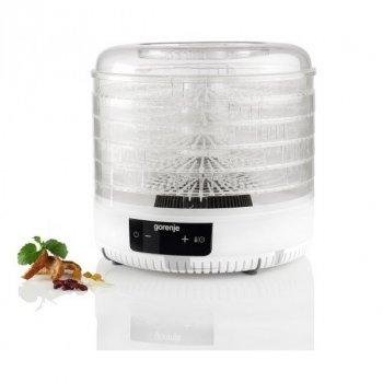 Сушилка для овощей и фруктов электрическая Gorenje FDK 500 GCW 380 Вт 5 секций ЖК дисплей таймер автоотключение дегидратор белая