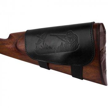 Шкіряний Патронташ на Приклад Bronzedog 6 патронів калібр 12/16 Чорний (5080/1)