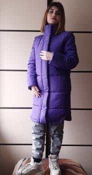 Теплая зимняя женская куртка За колено Зима N&T Palto-3 Плотная матовая Сиреневый