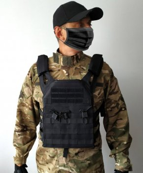 Тактичний військовий жилет плітоноска чохол для бронепластин Tactic під 3 ріжки з системою Molle Чорна (plate-black)