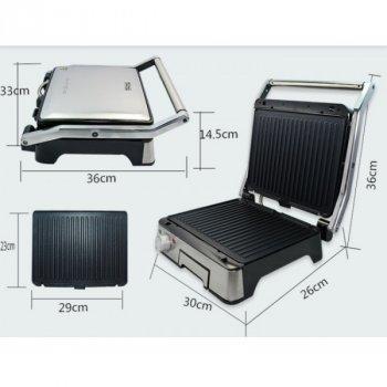Гриль электрический профессиональный с контролем температуры Dsp kb-1045 1800 Вт съемные пластины Серебристый