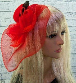 Шляпка с бутоньеркой и вуалью Карнавал Красная KS0-9071 (2200000014108К)