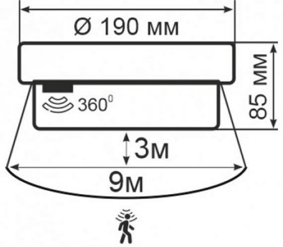 Світильник ERKA 1065D.i -SВ, настінно-стельовий з датчиком руху, 26 W, круглий, білий, Е27, IP 65