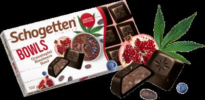 Шоколад черный Schogetten с гранатом и голубикой 100г