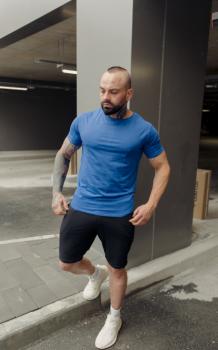 Мужской спортивный костюм Aсос с шортами BD2354 серо-голубой